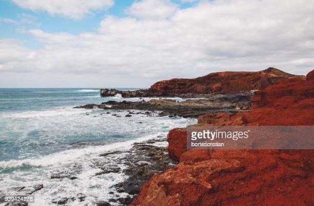 scenic view of beach and sea against sky - bortes photos et images de collection