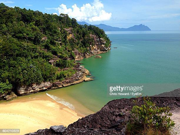 scenic view of beach at bako national park - sarawak state stock pictures, royalty-free photos & images