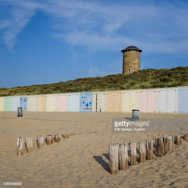 scenic view of beach of domburg by sea against sky - middelburg netherlands stock pictures, royalty-free photos & images