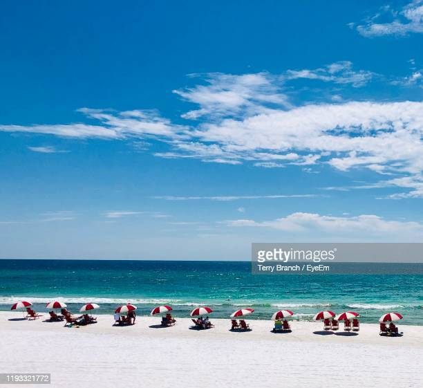 scenic view of beach - destin beach stock pictures, royalty-free photos & images