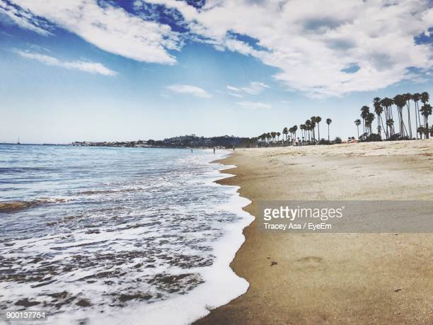 scenic view of beach - santa barbara stock photos and pictures