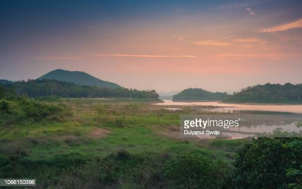 scenic view of beautiful sunset above the wetland park at summer - hua hin thailand stock pictures, royalty-free photos & images