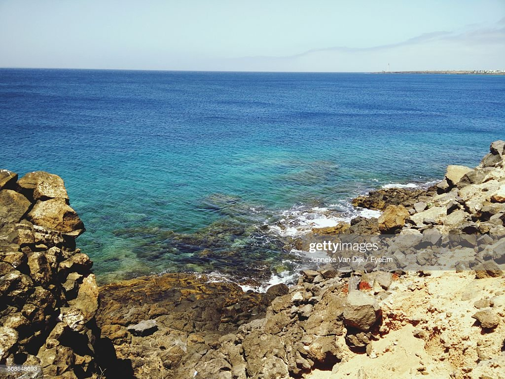 Scenic View Of Blue Sea Against Sky : Stock Photo