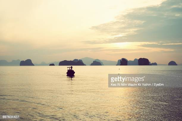 Scenic View Of Boat On Sea