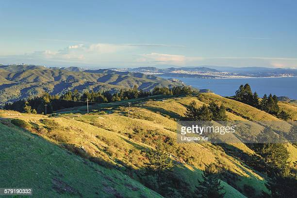 Scenic view of Bolinas Ridge and sea, Mt Tamalpais, California