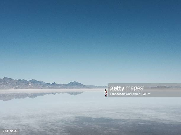 Scenic View Of Bonneville Salt Flats Against Blue Sky