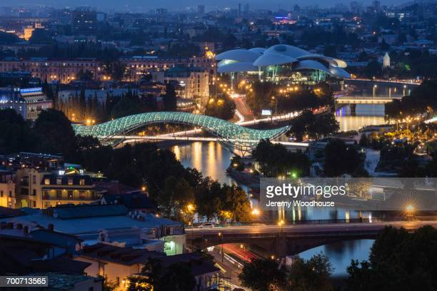 Scenic view of bridge at night in Tbilisi, Georgia