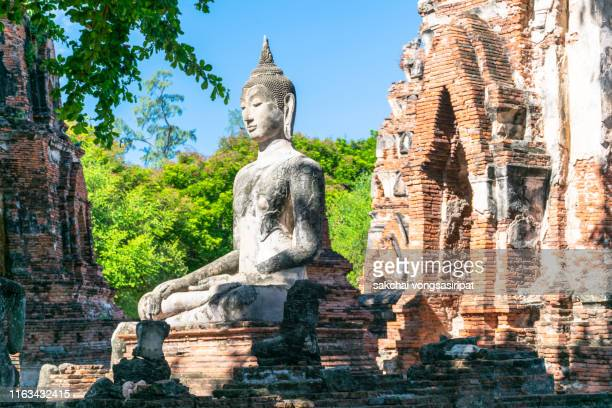 scenic view of buddha in ayutthaya historical park, thailand, asia - ayuthaya province stock pictures, royalty-free photos & images