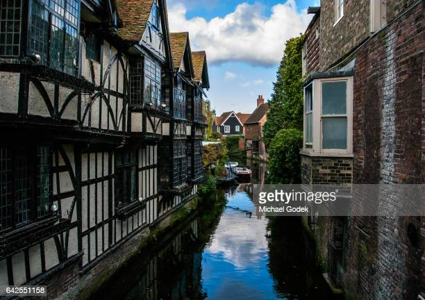 Scenic view of buildings lining the River Stour in Canterbury city center