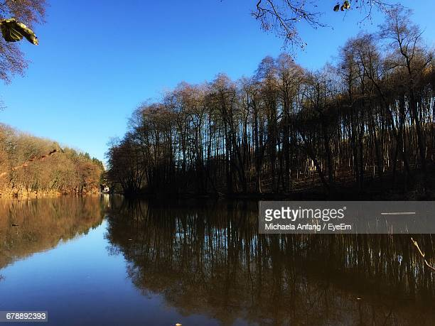 scenic view of calm lake against clear sky - anfang stock pictures, royalty-free photos & images