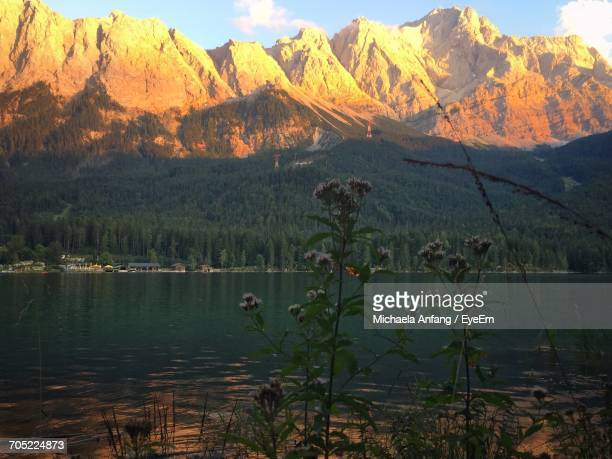 scenic view of calm lake against mountain range - anfang stock pictures, royalty-free photos & images