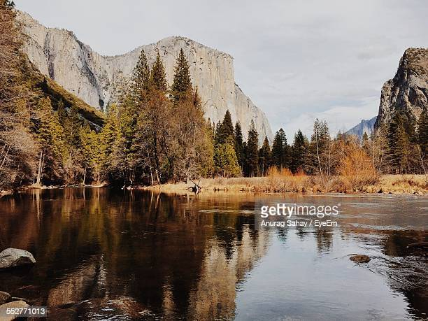 scenic view of calm lake by mountains and trees - マーセド郡 ストックフォトと画像