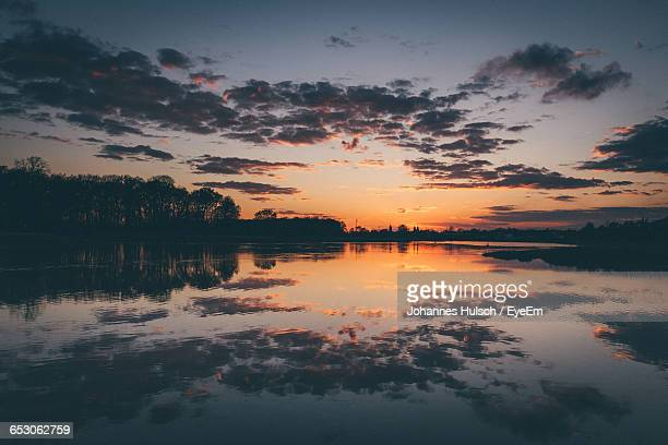 Scenic View Of Calm Lake During Sunset