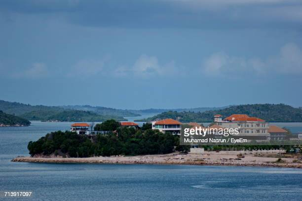 scenic view of calm sea against clear sky - muhamad nasrun stock pictures, royalty-free photos & images