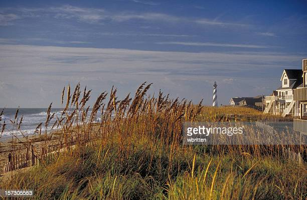 scenic view of cape hatteras lighthouse and the ocean - cape hatteras stock pictures, royalty-free photos & images