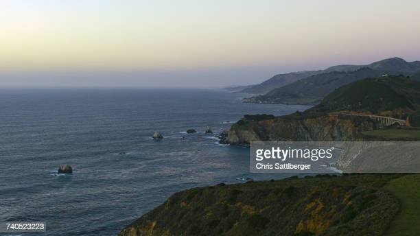 Scenic view of cliffs at ocean
