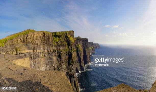 scenic view of cliffs of moher, liscannor, ireland - cliff stock pictures, royalty-free photos & images