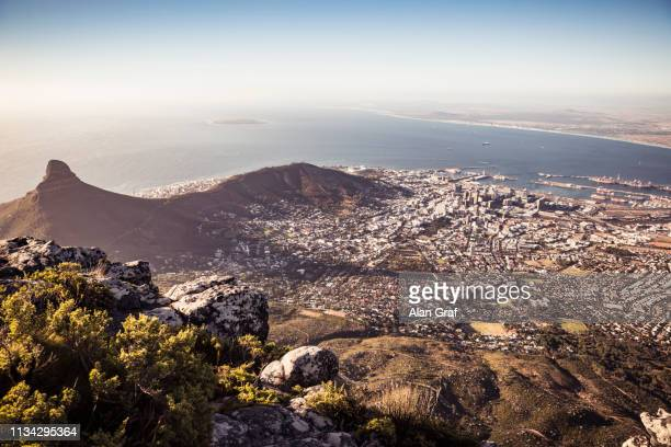 scenic view of coastline and sea, high angle view, cape town, western cape, south africa - table mountain stock pictures, royalty-free photos & images