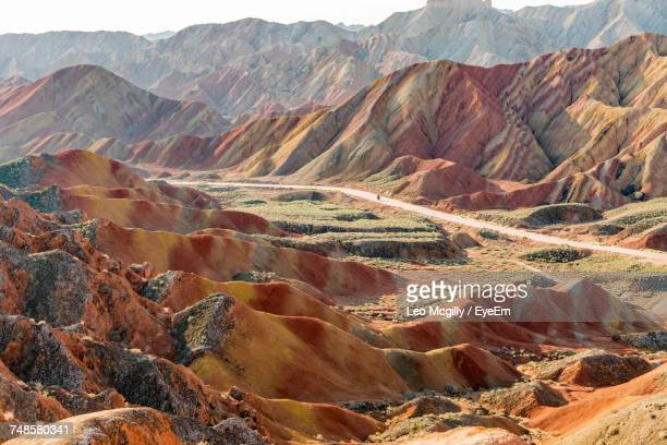 scenic view of colorful mountains at zhangye national geopark - gansu province stock pictures, royalty-free photos & images