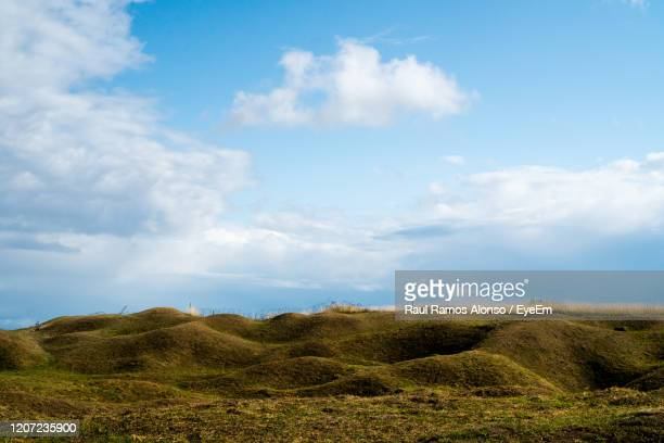 scenic view of craters landscape against sky - world war one stock pictures, royalty-free photos & images
