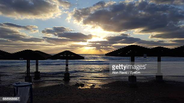 scenic view of dado beach against cloudy sky - haifa stock pictures, royalty-free photos & images