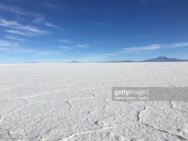 scenic view of desert against blue sky - salt flat stock pictures, royalty-free photos & images