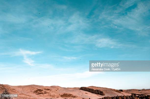 scenic view of desert against blue sky - blue stock pictures, royalty-free photos & images
