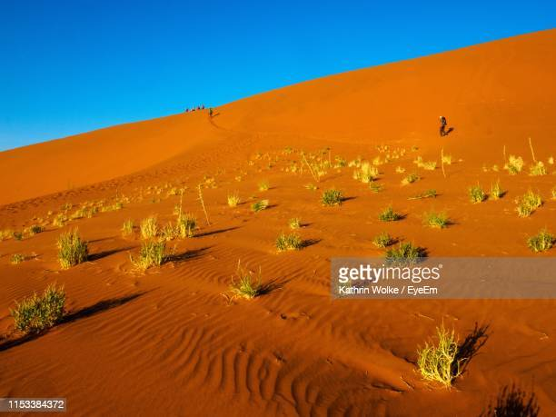 scenic view of desert against clear blue sky - wolke stock pictures, royalty-free photos & images