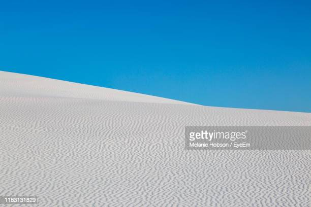 scenic view of desert against clear blue sky - chihuahua desert stock pictures, royalty-free photos & images