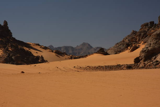 Scenic View Of Desert Against Clear Sky Acacus Mountain, Libya