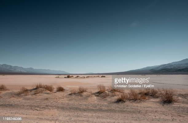 scenic view of desert against clear sky - christian soldatke foto e immagini stock