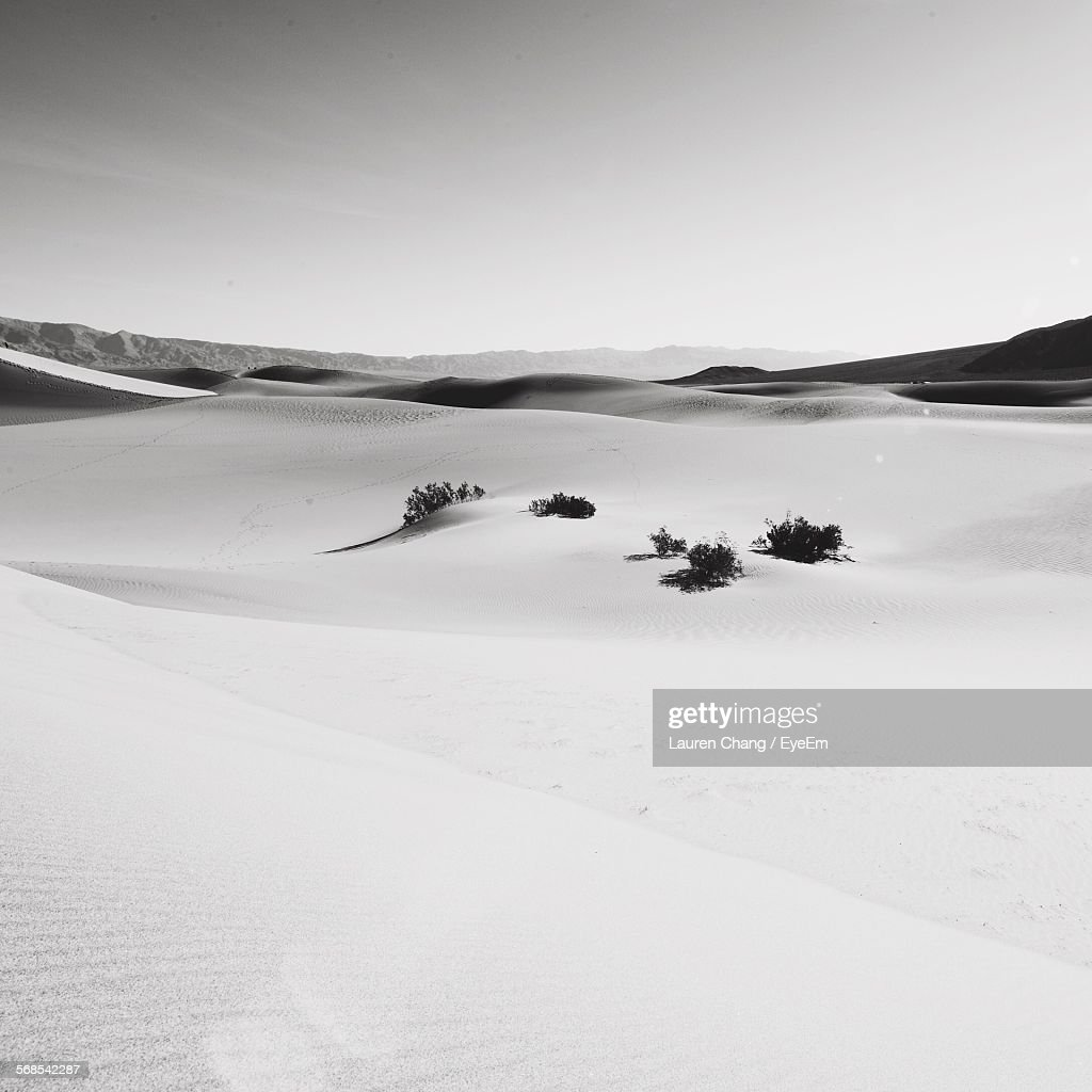 Scenic View Of Desert Against Clear Sky : Stock Photo