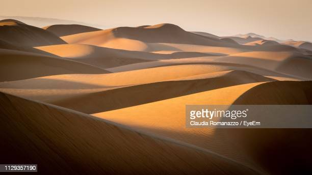 scenic view of desert against sky during sunset - claudia romanazzo foto e immagini stock