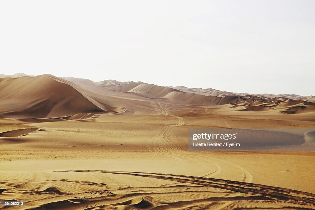 Scenic View Of Dessert Against Clear Sky : Stock Photo