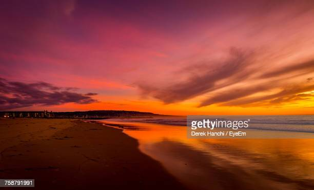 scenic view of dramatic sky over sea during sunset - hermosa beach stock pictures, royalty-free photos & images