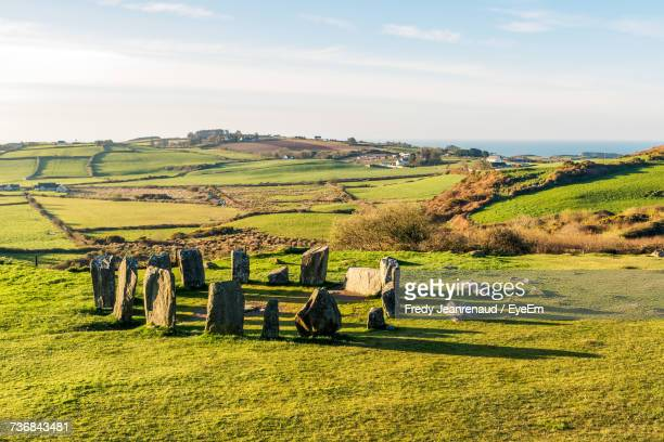 scenic view of drombeg stone circle - county cork stock pictures, royalty-free photos & images