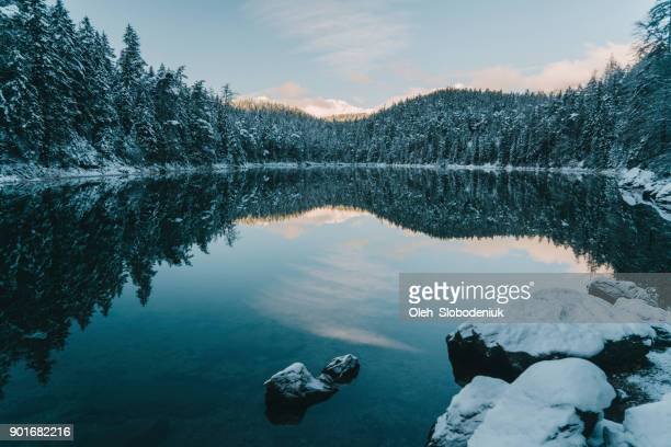 scenic view of eibsee lake in alps - mere noel stock pictures, royalty-free photos & images