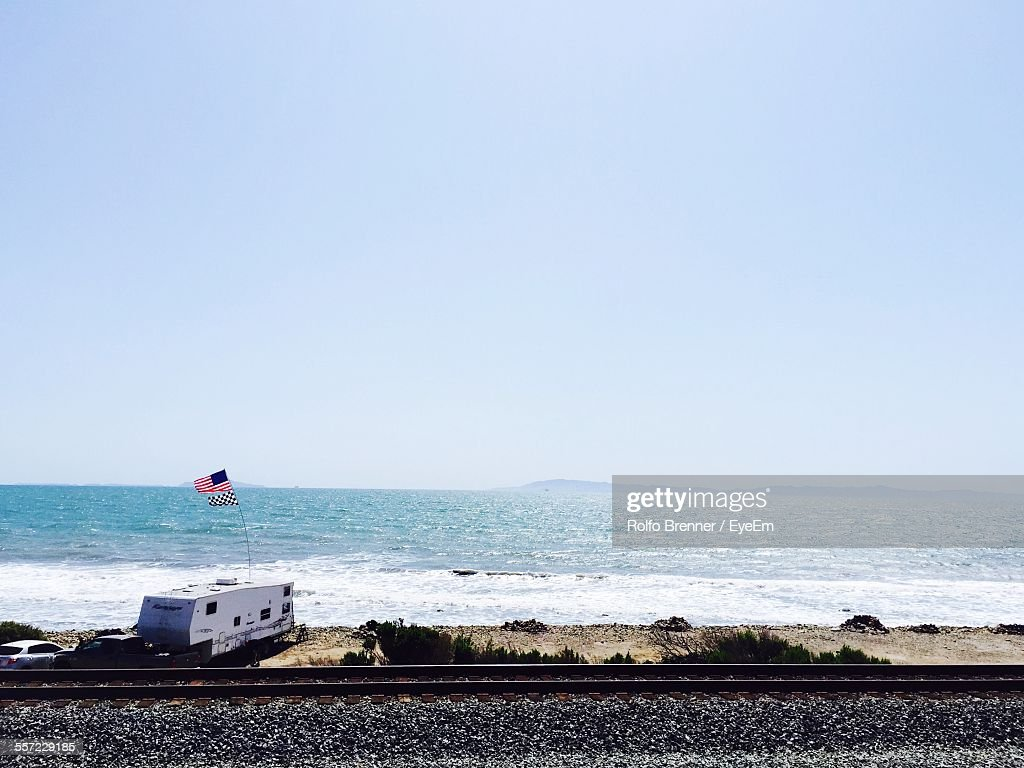 Scenic View Of Emma Wood State Beach Against Clear Sky : Stock Photo