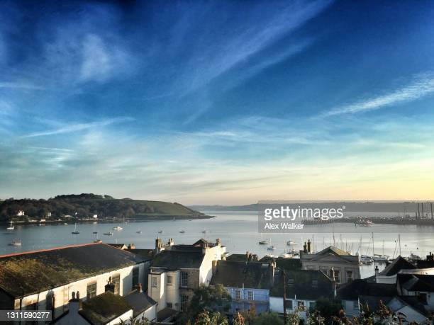 scenic view of falmouth harbour, cornwall at dusk - coastline stock pictures, royalty-free photos & images