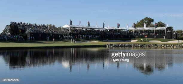 A scenic view of fans on the 18th hole during the second round of the Arnold Palmer Invitational presented by MasterCard at Bay Hill Club and Lodge...