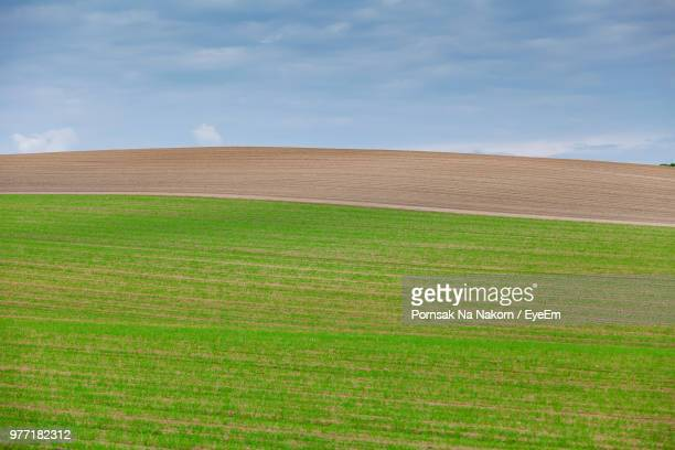 scenic view of farm against sky - satoyama scenery stock pictures, royalty-free photos & images
