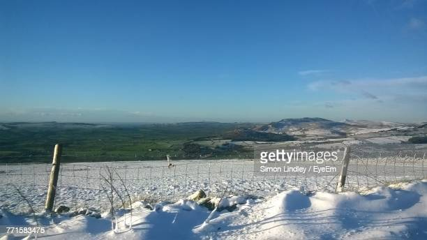 Scenic View Of Field Against Blue Sky During Winter