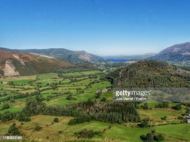 scenic view of field against clear sky - cockermouth stock pictures, royalty-free photos & images