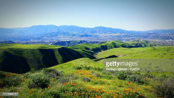 scenic view of field against clear sky - santa clarita stock photos and pictures