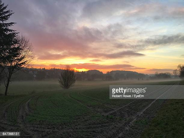 scenic view of field against cloudy sky during foggy weather at sunset - herzogenaurach stock pictures, royalty-free photos & images