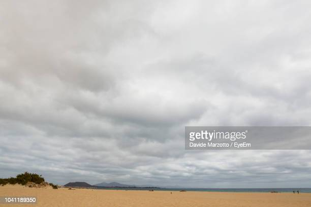 scenic view of field against cloudy sky - nuvoloso foto e immagini stock