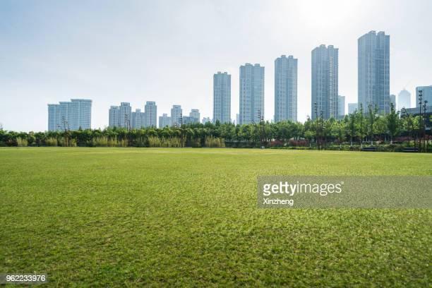 scenic view of field against cloudy sky - weitwinkel stock-fotos und bilder