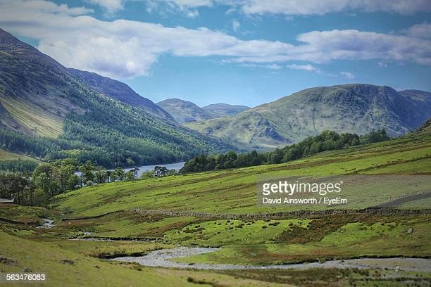 scenic view of field against mountain range - nottingham stock pictures, royalty-free photos & images