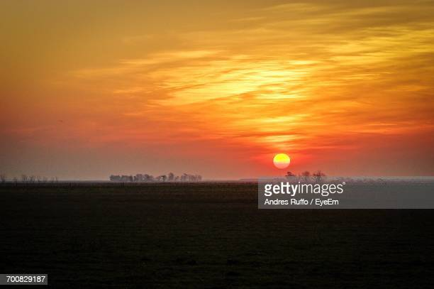 scenic view of field against orange sky - andres ruffo stock-fotos und bilder