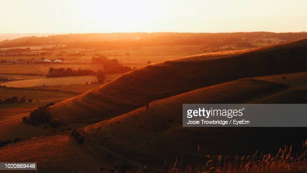 scenic view of field against sky during sunset - josie photos et images de collection